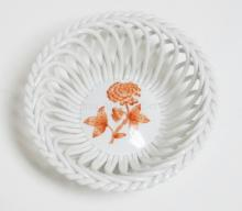 HEREND RETICULATED BOWL W/ ORANGE FLOWER. 5 1/8 IN