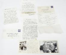 5 SIGNED PCS, LETTERS & POSTCARD FROM PERCY GRAINGER, 1947, 1955, 1956.