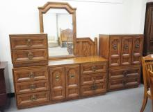 ARMSTRONG BEDROOM SET. HIGH CHEST, LOW CHEST W/MIRROR, BED & NIGHTSTAND. SOME DRAWER PULLS MISSING AND HAS SOME LOSSES TO THE FINISH.