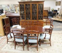 FLAME MAHOGANY DINING ROOM TABLE AND CHAIR SET. TABLE WITH BANDED EDGE & 2 LEAVES. 60 X 42 1/4 INCH TOP WITH 20 INCH LEAVES, 8 CHAIRS.