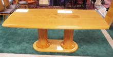 ITALIAN MODERN DINING ROOM TABLE WITH A DOUBLE COLUMN PEDESTAL AND AN INLAID TOP. 2 LEAVES (ONE HAS A SMALL SPOT OF REPAIR. LABEL READS *MADE IN ITALY EXCLUSIVE FOR EXCELSIOR*. 78 X 42 INCH TOP. 17 3/4 INCH LEAVES.