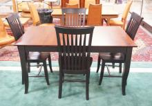 MODERN DINETTE SET. TABLE & 4 CHAIRS IN BLACK WITH A STAIN FINISHED TOP. IN 60 X 38 INCH TOP.