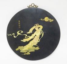 BLACK LACQUERED PLAQUE WITH MOTHER OF PEARL INLAY. CHARACTER SIGNED. 12 5/8 INCHES.