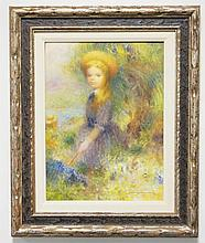 HARRY MYERS (1881-1961) OIL ON BOARD PORTRAIT OF A GIRL WITH A PARASOL AMONGST FLOWERS & TREES. 11 1/2 X 15 1/2 INCHES.