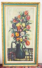 OIL ON CANVAS STILL LIFE PAINTING OF FLOWERS IN A VASE. 23 1/4 X 47 1/2 INCHES.