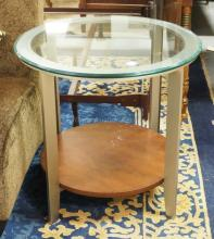 MODERN GLASS TOP LAMP TABLE. 26 INCH DIA.