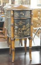 ETHAN ALLEN CHINOISERIE DECORATED STAND. 25 1/4 INCHES TALL.
