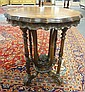 CARVED & FLORAL INLAID LAMP TABLE W/SCALLOPED EDGE & FLOWER BASKET STANDING FINIAL
