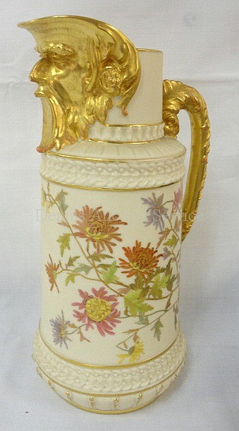 ROYAL WORCESTER HAND PAINTED PITCHER W/FACE SPOUT