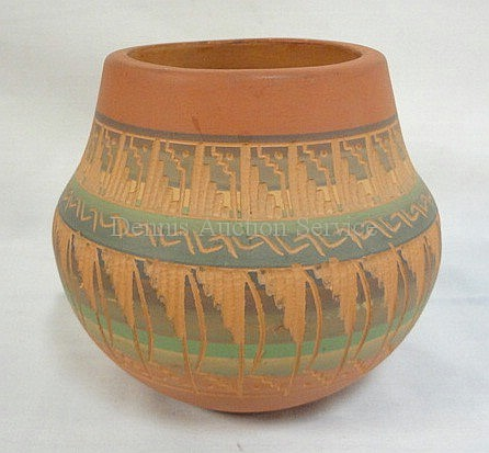 C. BILLY, NAVAJO CARVED & PAINTED RED POTTERY