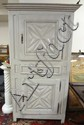 LARGE 2 DR, 1 DRW COUNTRY CUPBOARD W/RAISED PANELS & PINNED CONSTRUCTION; FRONT DOOR PANELS ARE CARVED
