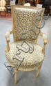 PAINT DECORATED ARM CHAIR W/FLUTED LEGS & FAUX LEOPARD UPHOLSTERY