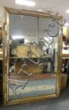 LARGE MIRROR W/NOTCHED GILT FRAME W/INDIVIDUAL PIECES OF MIRROR; 39 IN X 59 IN