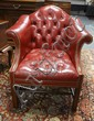 RED LEATHER TUFTED HUMP BACK ARM CHAIR