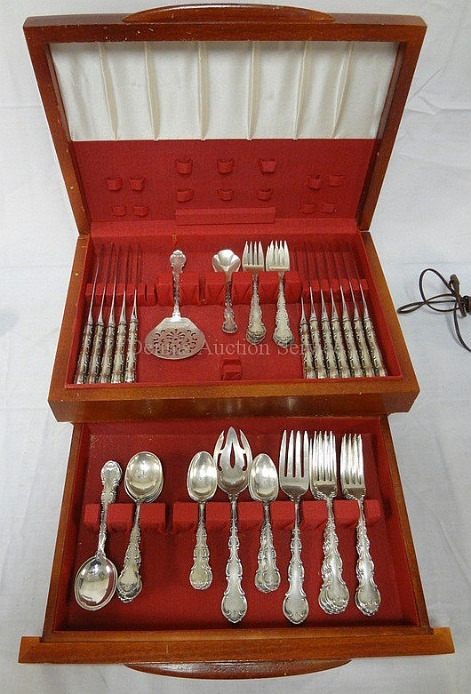64 PC GORHAM STERLING SILVER FLATWARE SET; SERVICE FOR 12 PLUS SERVING PIECES; 59.5 TROY OZ (COUNTING 0.5 TROY OZ FOR EACH KNIFE HANDLE)