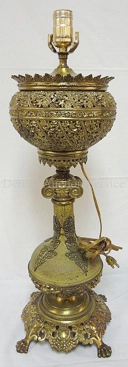 BRADLEY & HUBBARD CLAW FOOT BANQUET LAMP