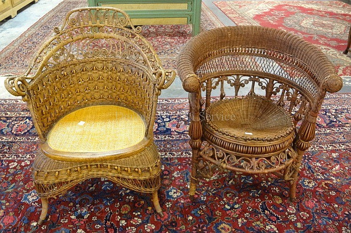 2 DIFFERENT FANCY WICKER CHAIRS