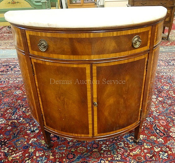 2 DR, 1 DRW BANDED MAHOGANY MARBLE TOP DEMILUNE CREDENZA