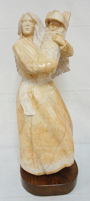 CARVED PINK MARBLE STATUE BY T. WASHBURN, OF AN AMERICAN INDIAN MOTHER & CHILD; ON A ROTATING WOODEN BASE