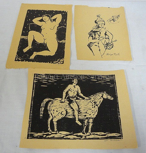 3 UNFRAMED PRINTS; NUDE BY DAVID GREEN '53, NO 4 OF 50, PENCIL SGD, IMAGE 4 1/2 IN X 8 1/4 IN; HARLEQUINN BY BIAGIO PINTO APPROX 6 1/2 IN X 8 IN; MAN ON HORSEBACK BY DAVID GREEN '53, NO 4 OF 50, PENCIL SGD, 8 1/2 IN X 6 1/2 IN