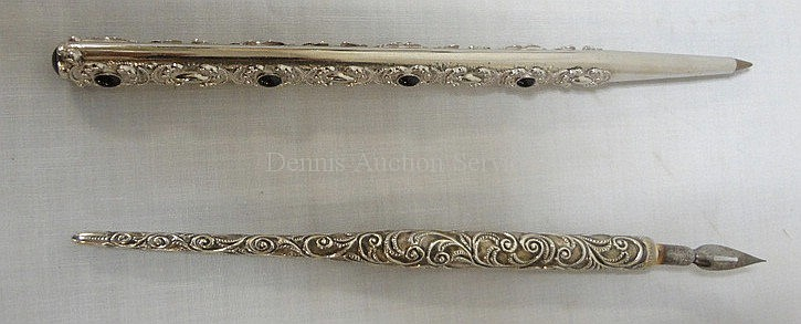 2 PENS; ONE W/BLACK JEWELS (UNMARKED) & ONE STERLING SILVER W/SCROLL DESIGN