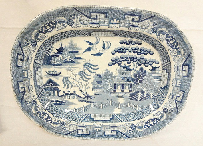 WR STAFFORDSHIRE BLUE WILLOW PLATTER; GLAZE FLAKE ON RIM, SMALL CHIP ON BACK EDGE; 15 5/8 IN X 12 1/4 IN