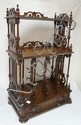 CARVED WALNUT VICTORIAN SHELF/MAGAZINE RACK W/DRAWER; 22 IN W, 33 1/2 IN H, 13 1/2 IN D