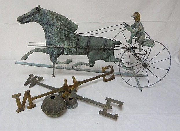SULKY, DRIVER & HORSE WEATHERVANE W/DIRECTIONS