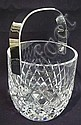 HEAVY CUT CRYSTAL ICE BUCKET W/METAL HANDLE;