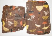 PAIR OF MID C. ABSTRACT CURTAIN PANELS. BLACK, SALMON AND YELLOW ON A BROWN GROUND. 7 FT 6 IN H, 65 IN WIDE. HAVE LABEL- KAUFFMAN'S, PITTSBURGH