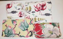 4 PC MIC C FABRIC W/ LEAF AND FLOWER DESIGNS- 2 ARE MATCHED *DANCING LEAVES* ATTRIBUTED TO SALVIDOR DALI AND ARE 2 AND 2 1/2 YARDS BY 46 IN. YELLOW TULIP PIECE IS 4 FT SQUARE AND THE RED PIECE IS 3 3/4 YDS X 44 IN