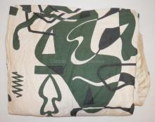 PR OF MID C LARGE LINED CURTAIN PANEL- BLACK AND GREEN ABSTRACT ON WHITE. 5 FT 4 IN H X 53 IN