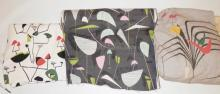 3 DIFFERENT PCS ABSTRACT FABRIC: ON WHITE 3 1/3 YD X 45 IN, ON BLACK-*BARTEX PRINTS DESIGN COUNTERPOINT*- 5 YDS X 47 IN AND A LINED PANEL ON GRAY- 5 1/2 FT X 90 IN