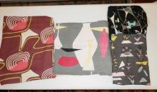 4 PC ABSTRACT MID C FABRIC:2 1/3 YDS X 48 IN, 6 FT X 6 FT 7 IN, 4 FT A 44 IN AND 7 FT X 32 IN