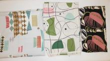 3 PC ABSTRACT FABRIC: CURTAIN PANEL- 8 FT 10 IN X 23 IN, AND 2 PCS- 3 YDS X 46 IN AND 6 FT 2 IN X 41 IN