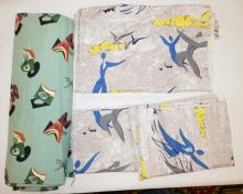 4 PC MID C FABRIC- 3  *CLOUD CHASERS*: 9 FT X 20 IN, 13 FT X 20 IN AND 34 IN X 27 IN. ALSO 5 YDS X 46 IN ABSTRACT DESIGN ON AN AQUA GROUND.