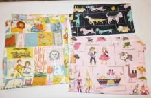 4 PC CHILD'S FABRIC: PR OF CURTAINS- 4 FT 4 IN X 3 FT 5 IN, NURSERY RHYME PC-2 YDS X 36 IN AND A PC W/ DOGS- 38 IN X 36 IN