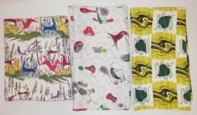 3 PC MID C FABRIC: ANIMALS IN THE FOREST- 2 YD X 44 IN, ABSTRACT- 3 YD X 46 IN AND ABSTRACT 48 IN X 46 IN