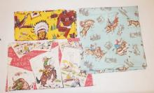 3 PC COWBOY FABRIC: 5 FT X 34 IN YELLOW, 4 YDS X 34 IN ON AQUA GROUND AND 48 IN X 26 IN W/ BRANDS, ETC