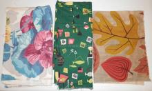 4 PC MID C FABRIC. FLORAL- 3 YDS X 46 IN, 2 GREEN PIECES W/ HOUSEHOLD OBJECTS- 2 YDS X 46 IN AND 43 IN X 38 IN AND A SMALL LEAF PATTERN 31 IN X 23 IN