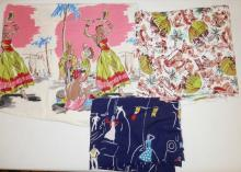 3 PC MID C FABRIC W/ PEOPLE, DANCERS, ETC. 3 3/4 YDS X 34 IN, 56 IN X 42 IN AND 3 YDS X 30 IN
