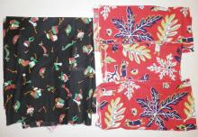 4 PC MID C FABRIC W/ PEOPLE. LARGE BLACKPIECE IS 3 1/3 YDS X 34 IN + 3 SMALL RED PIECES- APP 34 IN X 31 IN