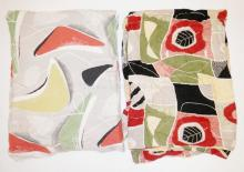 3 PC ABSTRACT- PR OF CURTAINS- 5 FT X 42 IN AND A SINGLE- 57 IN X 35 IN