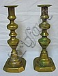 PR OF BRASS PUSH UP CANDLESTICKS; 9 5/8 IN H
