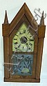 STEEPLE CLOCK W/FROSTED & CUT DOOR; HAS LABEL; 20