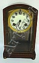WATERBURY CLOCK W/BRASS FEET & BEVELED GLASS FRONT