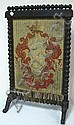 NEEDLEPOINT FIRE SCREEN W/TURNED FRAME; SOME TEARS