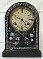 BLACK LACQUER VICTORIAN CLOCK W/MOP INLAY; 10 IN