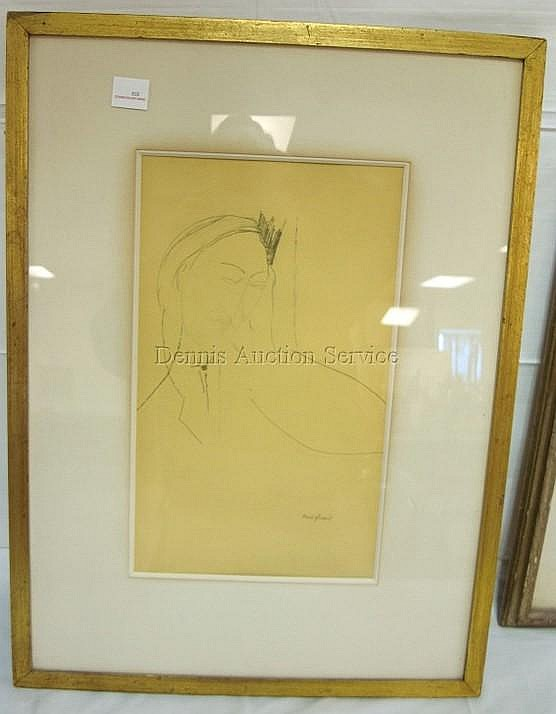 FRAMED PRINT BY MODIGLIANI; PORTRAIT; HAS EMBOSSED
