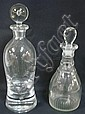 2 DECANTERS; 1 BLOWN CRYSTAL W/TRAPPED BUBBLE IN
